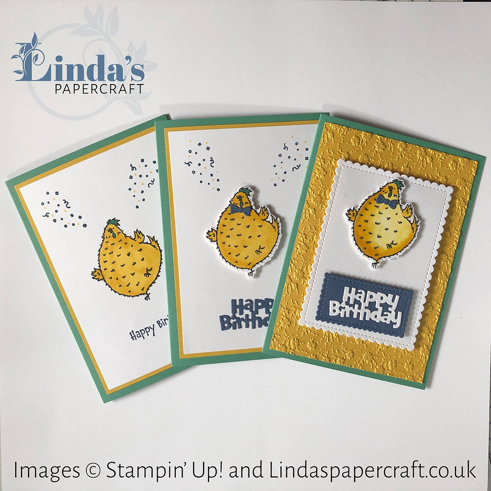 a photo of 3 different hand made cards using the Hey Birthday Chick stamp set. All the same basic layout but each one is stepped up from the last