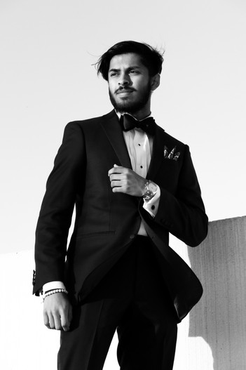 Black and white suit