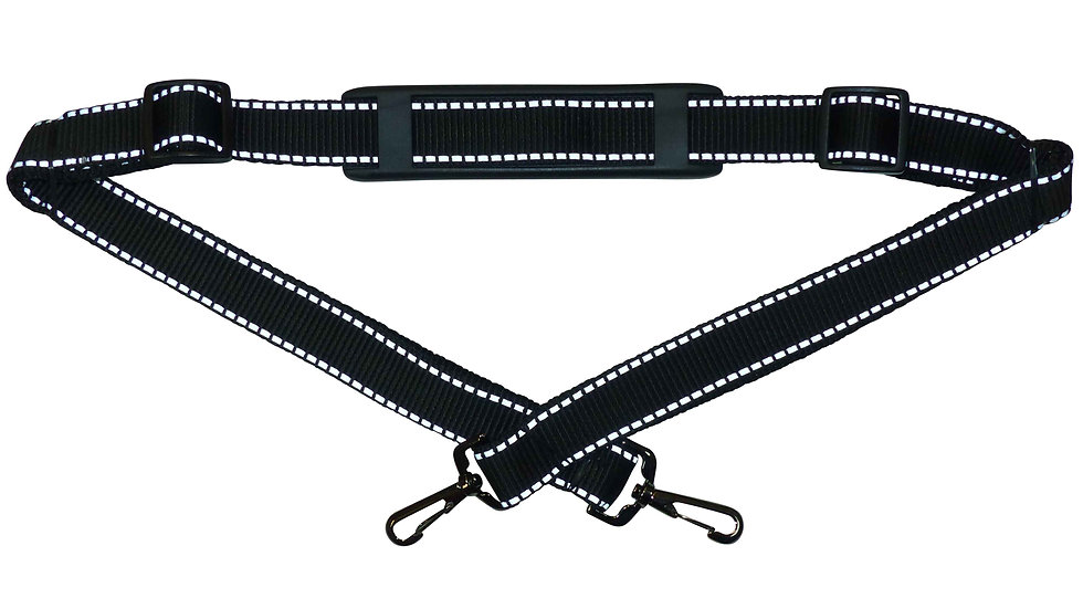 25mm Bag Strap with Reflective Stripe, Metal Clips, Shoulder Pad, 150cm