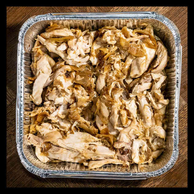 Shredded chicken with sticky caramelised onions