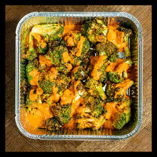 Broccoli, red pepper and almond salsa
