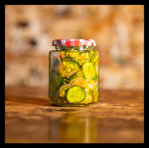 Pickled cucumber and shallots