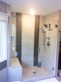 Custom Shower Door with Bench Insert