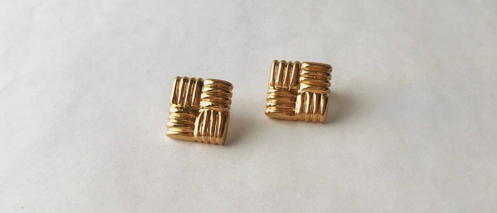 Twill weave earrings (K18)