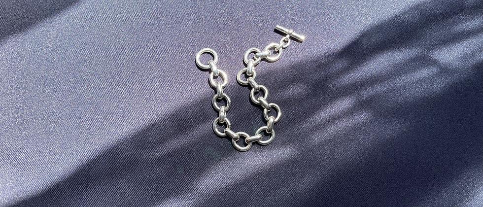 Chunky oval bracelet S (Silver)