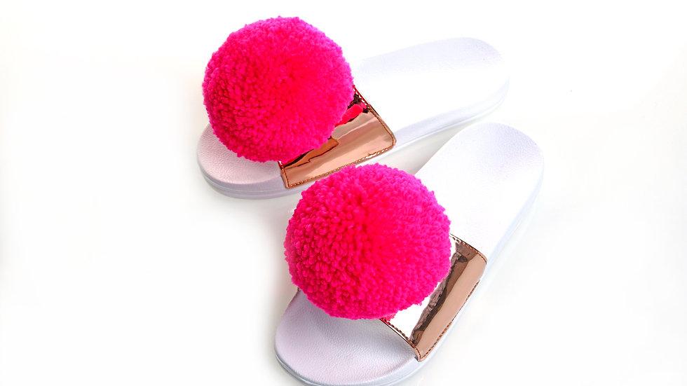 Neon pink pom pom slider
