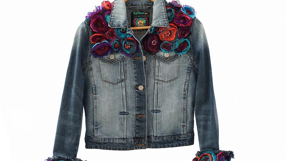 Multi Flower Vintage Denim Jacket