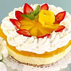 Mango Cheesecake w Mango Flowers, Strawberries, Whipped cream