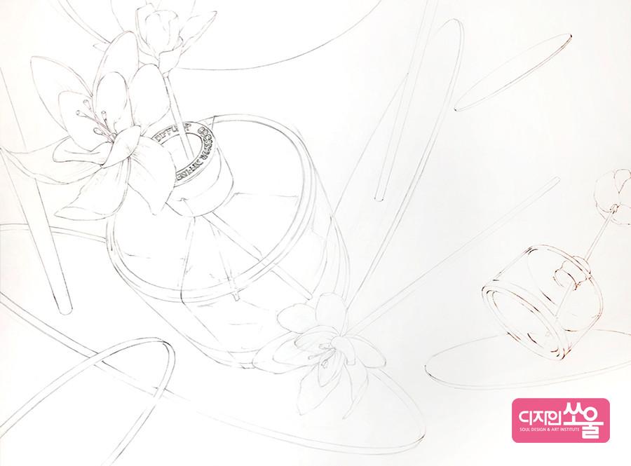 기초디자인 구도 스케치 과정
