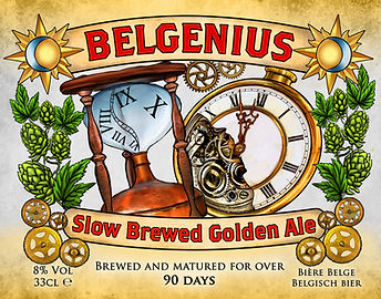 Belgenius slow brewed golden ale label art