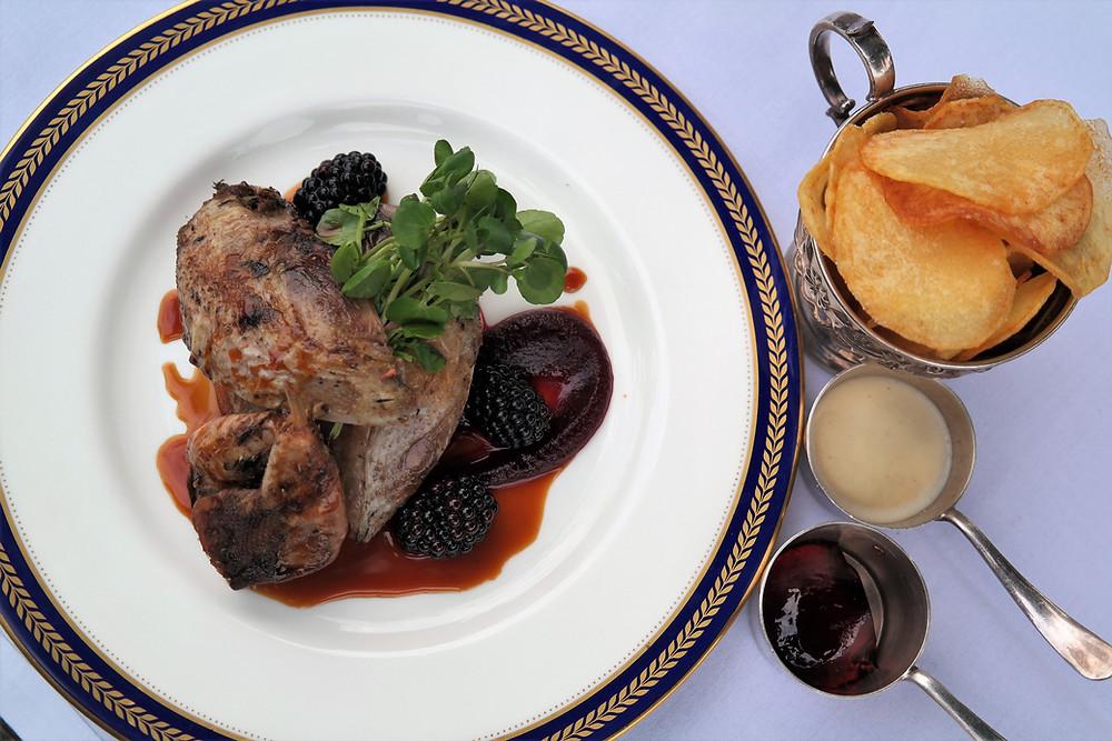 Roast Grouse, livers en croute, bread purée, watercress, blackberries