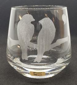verre apéritif couple d'oiseaux