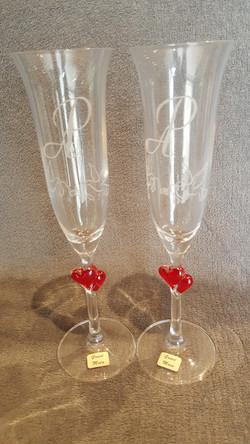 flûtes gravées pour mariage