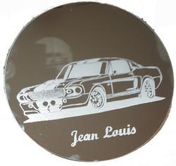 ford mustang sur miroir avec prénom