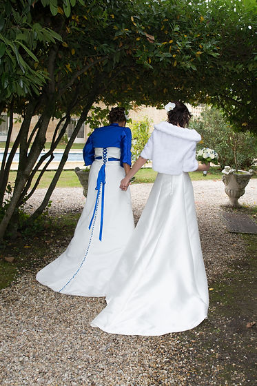 Back of two brides getting married hold