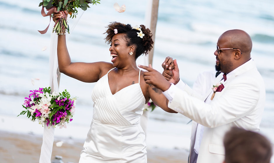 African American couple getting married