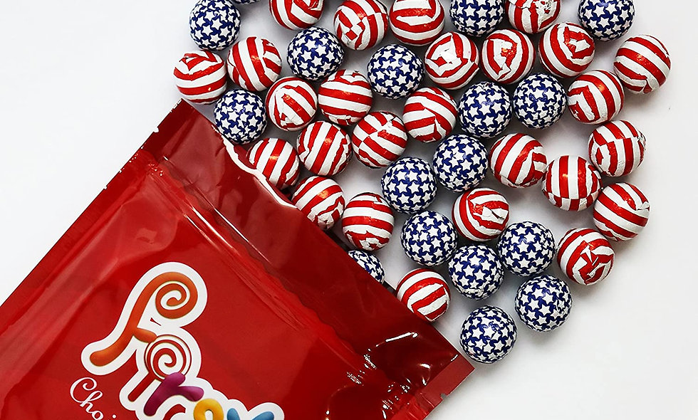 Milk Chocolate Foil Wrapped Balls (American Flag)