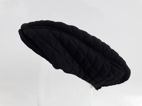 Black quilt newsboy flat cap