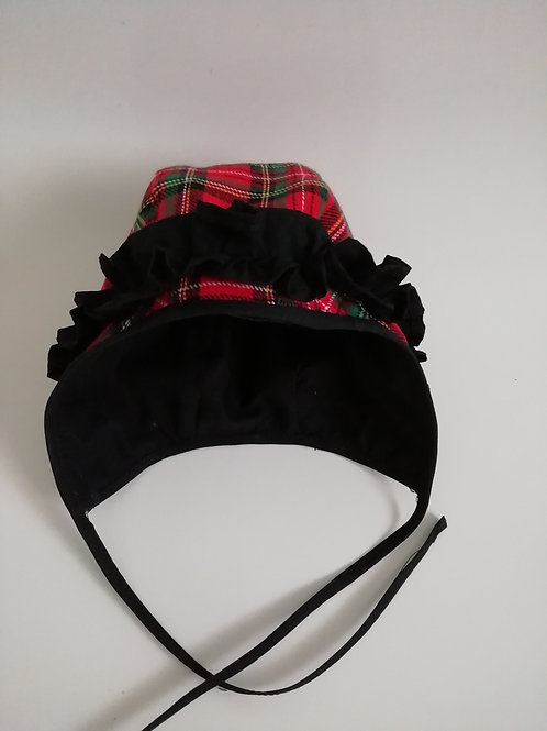 Red royal stewart bonnet with a frill