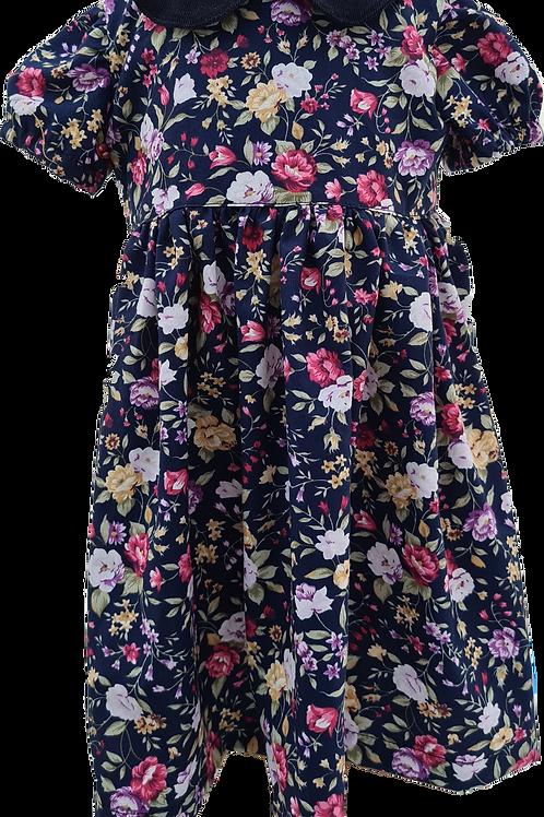 Handmade blue floral peter pan collar dress