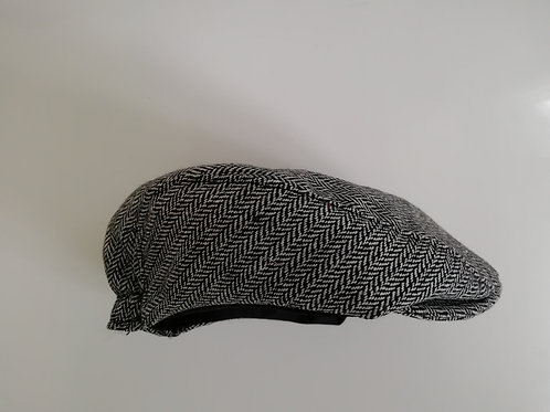 Childs black herringbone tweed check newsboy flat cap