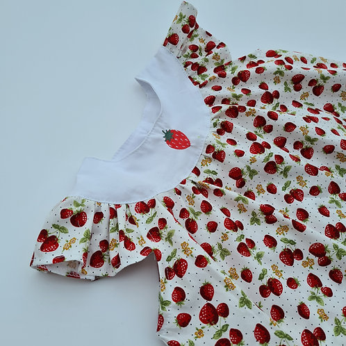 Strawberry embroidered cotton dress