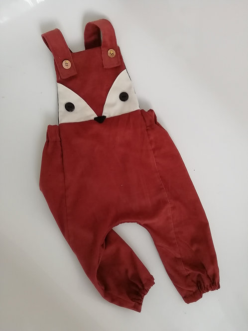 Fox Corduroy long  cross over dungaree romper
