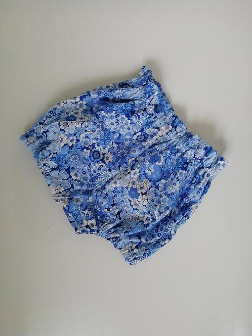 Blue floral paperbag waist shorts