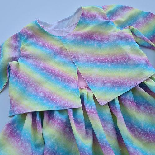 Handmade rainbow and pink dress with Jacket