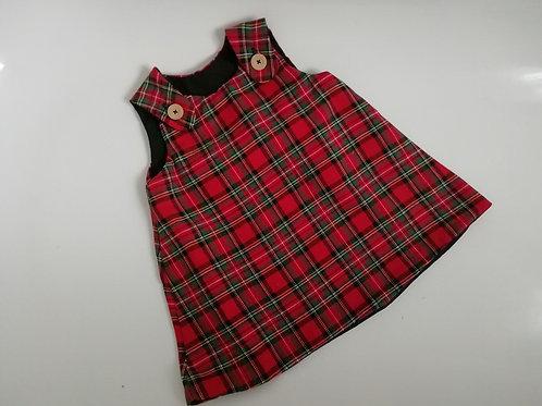 Handmade red royal stewart tartan pinafore Dress