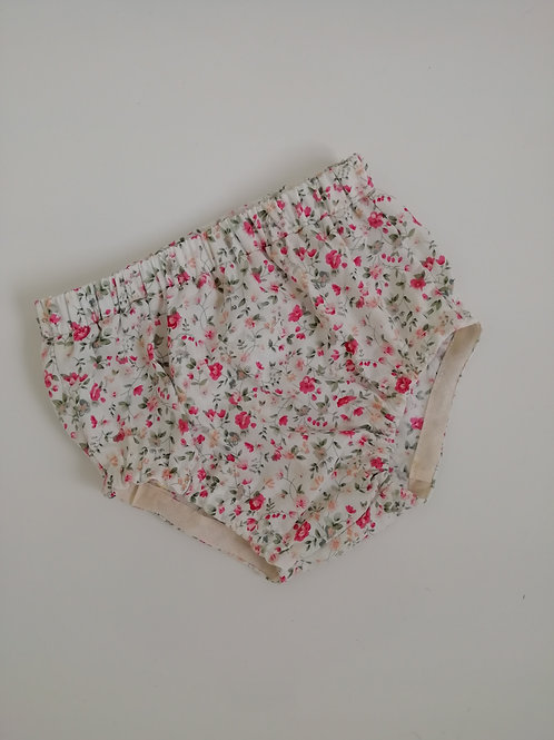 Pink ditsy floral bloomers, with or without ruffles