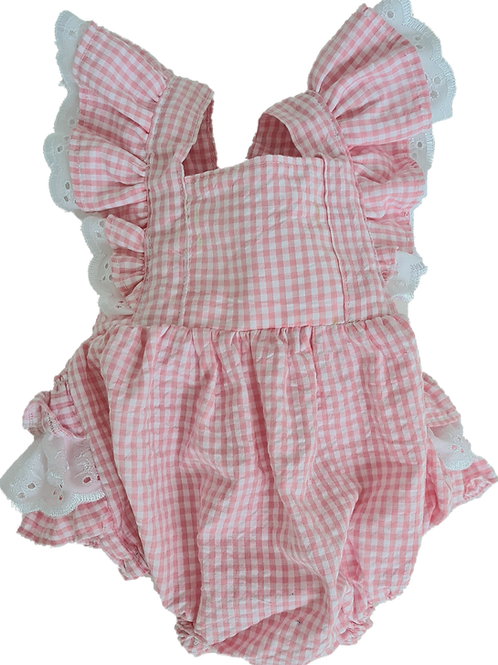 Pink gingham Frilly seersucker cotton romper