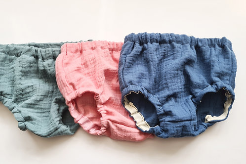 Double gauze bloomers/nappy cover, with or without ruffles