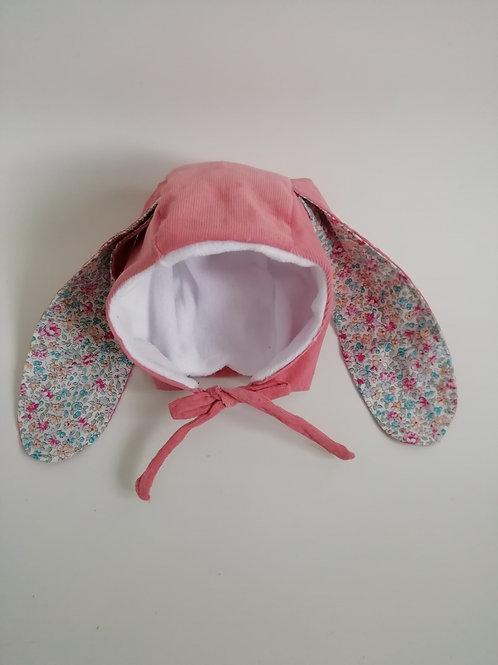 Pink bunny corduroy bonnet