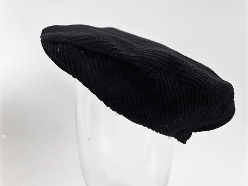 Black corduroy newsboy flat cap