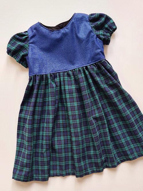 Handmade blue glitter and tartan party dress