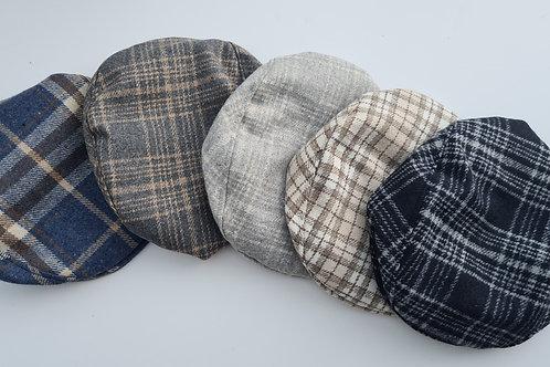 Handmade wool blend check flat cap