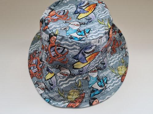Reversible surf shark childs bucket hat