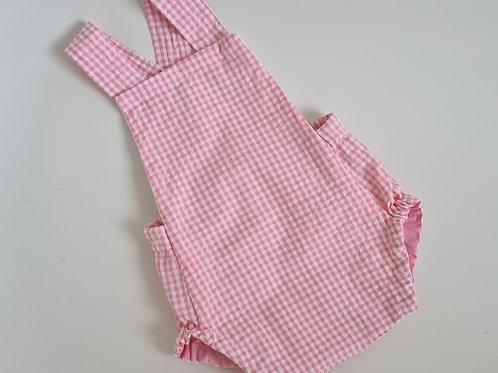 Babies pink or blue cotton seersucker romper