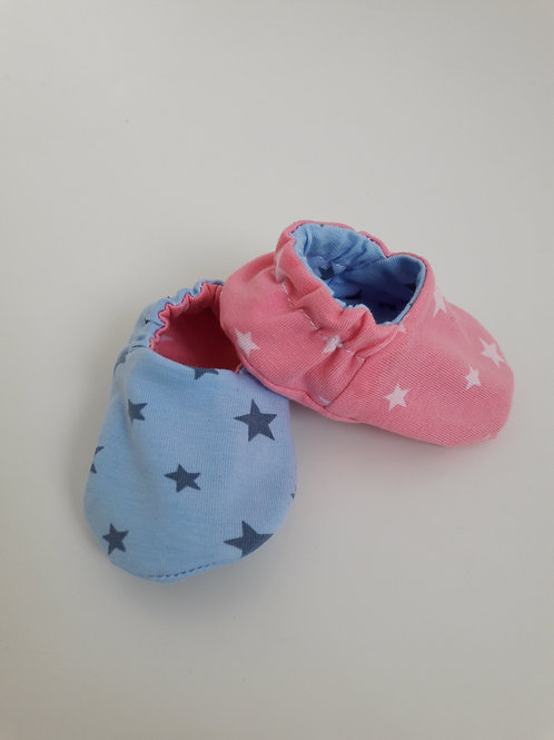 Pink and blue star reversible baby slippers/booties