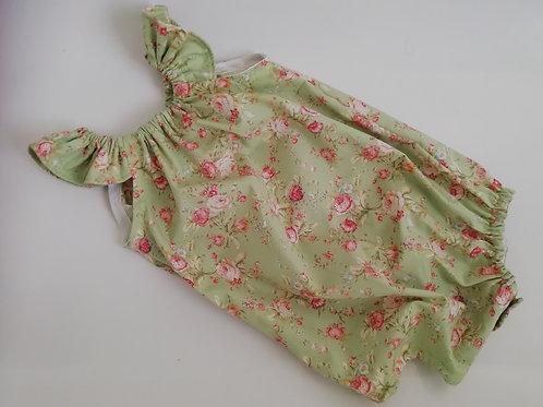 Green Vintage floral playsuit 12-18 months