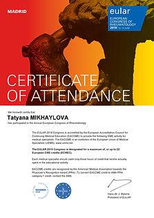 EULAR 2019 - Certificate of Attendance.j