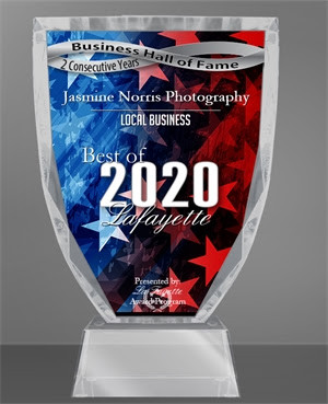 Jasmine Norris Photography Receive 2020 Best of Lafayette Award