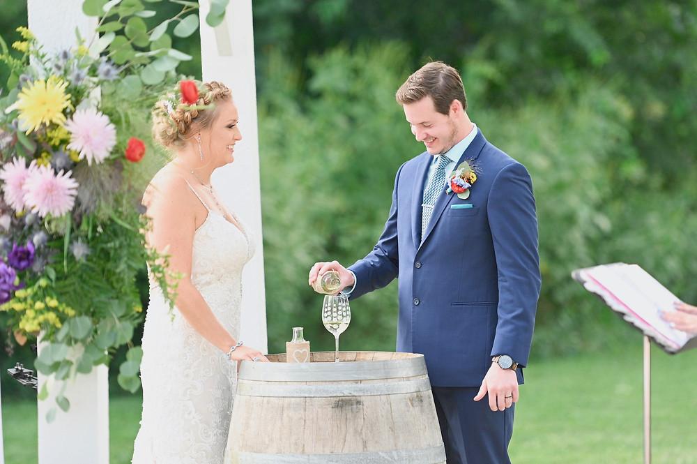 Wine Pouring Indiana Wedding Photographer Photography