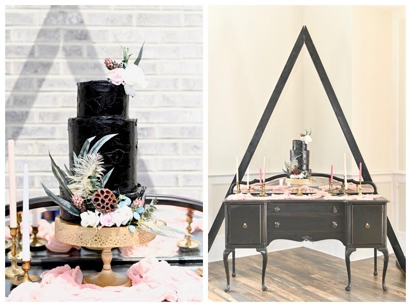 Black Wedding Cake Inspiration Iron & Ember Indianapolis Wedding Photographer