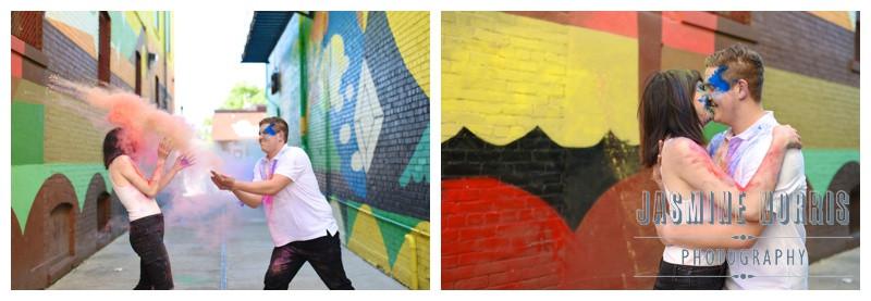 Purdue University Von's Shops Paint Powder West Lafayette Indiana Engagement Photographer Photography