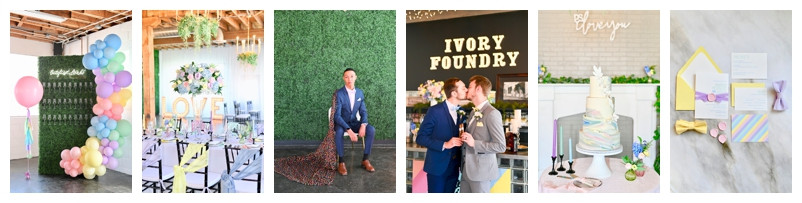 Colorful Pastel Rainbow Wedding Inspiration at Ivory Foundry In Indianapolis Indiana