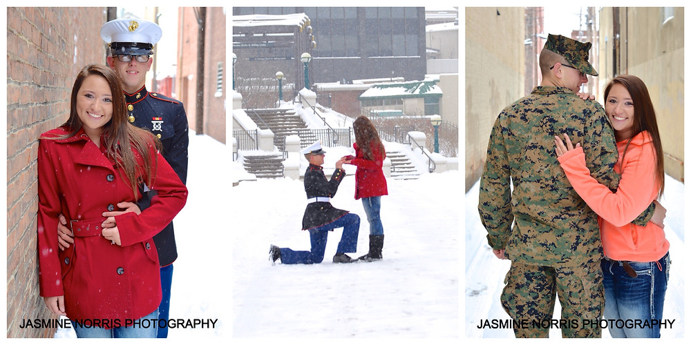 Military Proposal and Engagement Downtown Lafayette Indiana