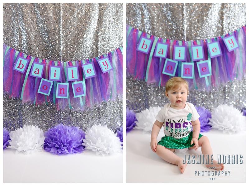 Mermaid Inspired 1 Year Cake Smash Indiana Family Photography Photographer