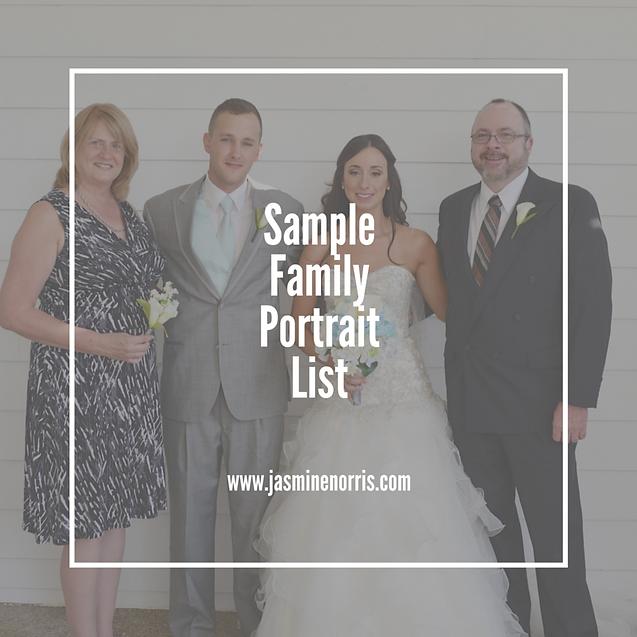 Sample Family Portrait List Wedding Wednesday